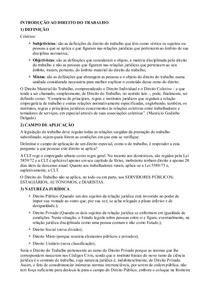 Introdução ao Direito do Trabalho