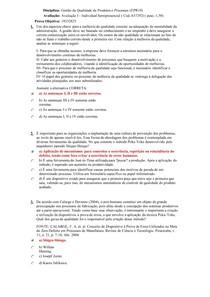 Gestão da qualidade de produtos e processos prova 1