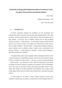 Os Desafios da Desigualdade Regional nos Blocos Econômicos: União Europeia e Mercosul
