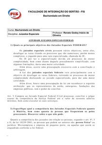 JUIZADOS ESPECIAIS CÍVEIS FEDERAIS (questões)