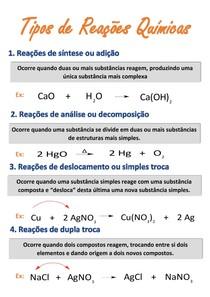 Resumo - tipos de reações químicas