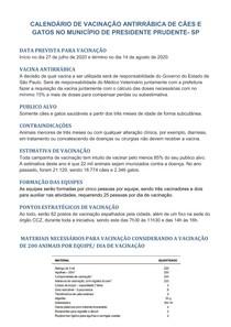 EXEMPLO DE CALENDÁRIO DE VACINAÇÃO ANTIRRABICA