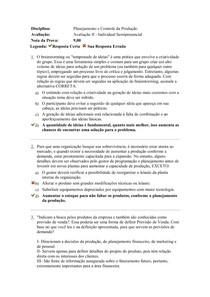 Planejamento e Controle da Produção - Prova II - Planejamento