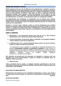 DEFINIÇÕES E DIFERENÇA MEDICAMENTO E REMÉDIO