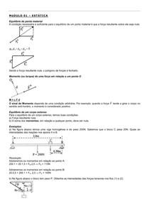 Estática - Equilíbrio do ponto material e momento