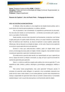 Resumo do Capítulo 1, livro de Paulo Freire Pedagogia da Autonomia