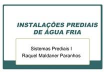INSTALAÇÕES PREDIAIS DE ÁGUA FRIA   Raquel