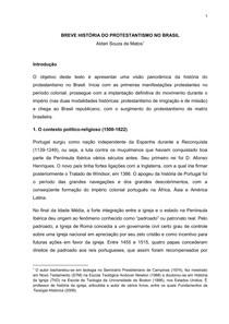 BREVE HISTÓRIA DO PROTESTANTISMO NO BRASIL