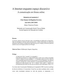 Relatório de Seminário A Internet enquanto espaço discursivo. Prof. GilBF