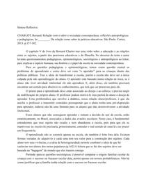 SINTESE REFLEXIVA - Bernard Charlot - Da relação como saber às práticas educativas.