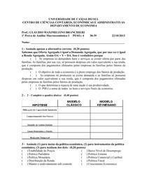 1a. Prova Macroeconomia I - Seg Sem 2013