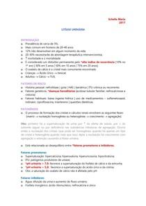 URO | NEFRO - Litíase Urinária