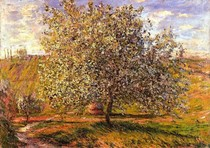 Tree In Flower Near Vetheui-Claude Monet