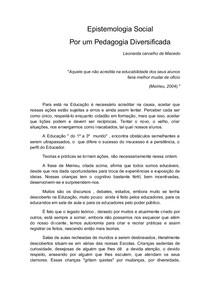 ARTIGO EPISTEMOLOGIA SOCIAL