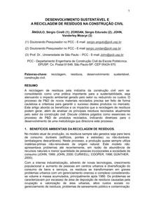 DESENVOLVIMENTO SUSTENTÁVEL E A RECICLAGEM DE RESÍDUOS NA CONSTRUÇÃO CIVIL