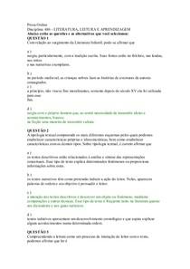 Prova Online litratura_leitura e aprendizagem