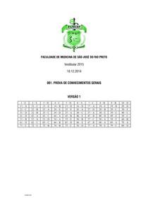 PROVA FAMERP 2015 - Faculdade de Medicina de São José do Rio Preto