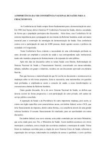 A IMPORTÂNCIA DA VIII CONFERÊNCIA NACIONAL DE SAÚDE PARA A CRIAÇÃO DO SUS