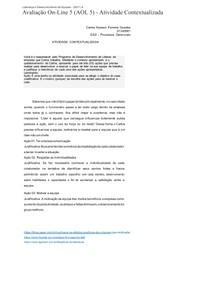 Avaliação On-Line 5 (AOL 5) - Atividade Contextualizada
