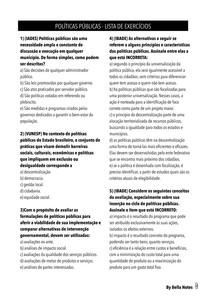 Políticas Públicas - Lista de Exercícios I (com gabarito)