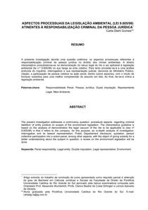 ASPECTOS PROCESSUAIS DA LEGISLAÇÃO AMBIENTAL LEI 9605 98