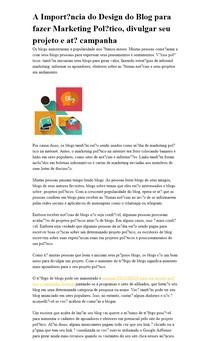 A Importância do Design do Blog para fazer Marketing Político, divulgar seu projeto e até campanha