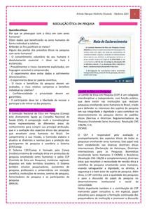 RESOLUÇÃO ÉTICA EM PESQUISA - RESUMO HG III