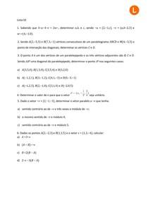 Lista 2 - Vetores e Geometria Analítica