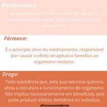 medicamentos x fármaco x Droga