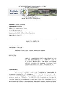 Atividade Avaliativa - Processo Falimentar - Parecer Jurídico _Recuperação Judicial_