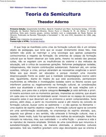 TEORIA DA SEMICULTURA - Adorno