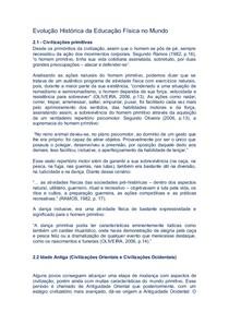 Evolução Histórica da Educação Física no Mundo e no Brasil