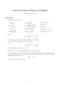 Lista 6 de Cálculo I: Regra de L'Hôpital