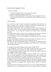 Questões sobre Lingüística Textual