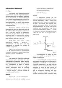 Relatório: Interferômetro de Michelson