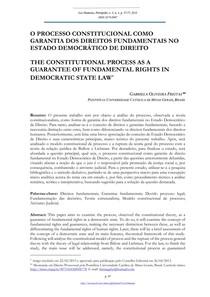 O PROCESSO CONSTITUCIONAL COMO  GARANTIA DOS DIREITOS FUNDAMENTAIS NO  ESTADO DEMOCRÁTICO DE DIREITO