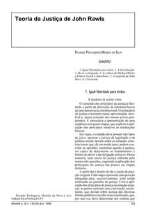 Ricardo Perlingeiro Mendes da Silva: Teoria da Justiça de John Rawls