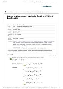 Atividade Avaliativa 3 - Equações Diferenciais