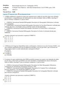 Avaliação final Representação descritiva II - Catalogação