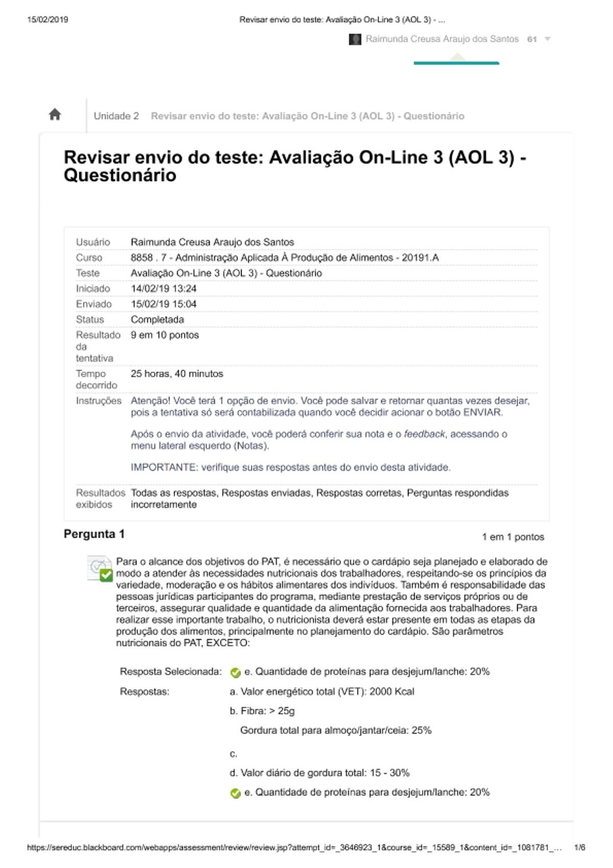 Pre-visualização do material Avaliação 02 Administ Prod Alimentos - página 1