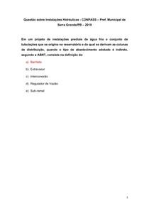 Questão sobre Instalações Hidráulicas - CONPASS Pref Municipal de Serra Grande-PB 2018