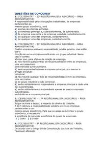 QUESTÕES DE CONCURSO grupo economico