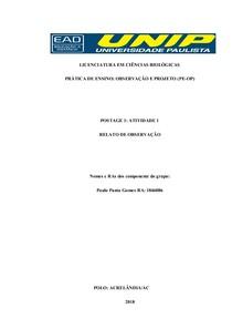 PCC observação e projeto trabalho 1