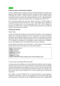 Resumo Aula 2 Banana ( origem, classificação botânica cultivares e variedades)
