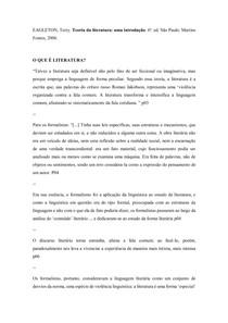 Fichamento. EAGLETON, Terry. Teoria da literatura: uma introdução. 6ª. ed. São Paulo: Martins Fontes, 2006.