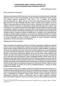 CONSIDERAÇÕES SOBRE A PESQUISA CIENTÍFICA A: EM BUSCA DE CAMINHOS PARA A PESQUISA CIENTÍFICO