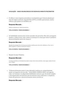 AVALIAÇÃO - BASES NEUROLÓGICAS DO DESENVOLVIMENTO PSICOMOTOR - Psicologia Infantil