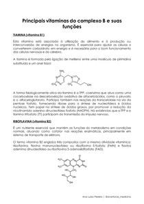 Principais vitaminas do complexo B e suas funções no organismo humano