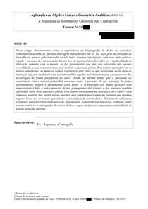 PAPER - A Segurança de Informações Garantida pela Criptografia