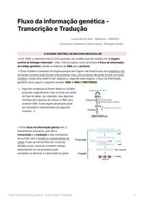 Fluxo da informação genética - Transcrição e Tradução